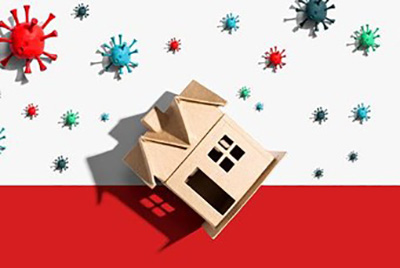 Toy house and Covid virus