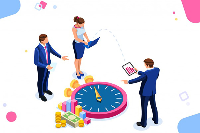 Illustration of people working with video and timer