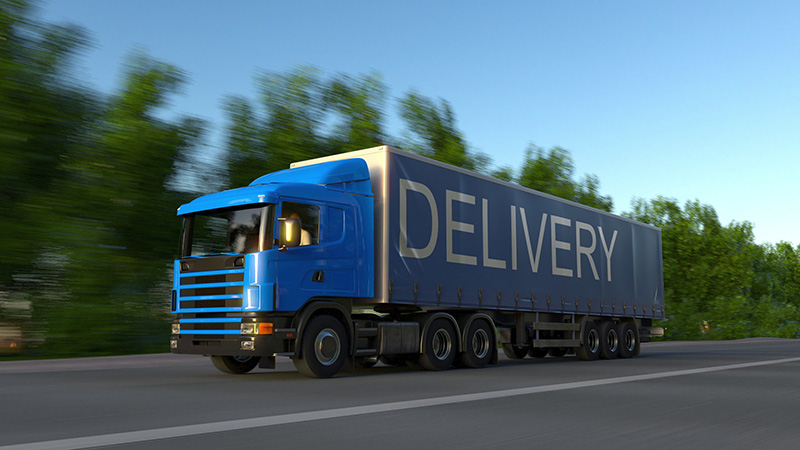 Blue truck for delivery