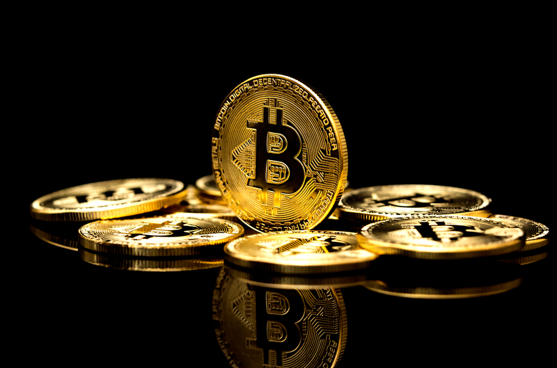 Image of a Bitcoin on a black background