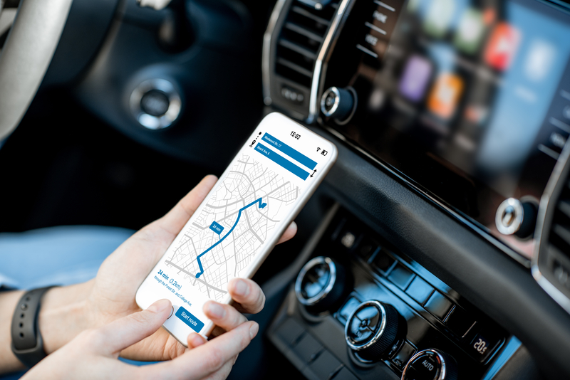 Smart phone with navigation app in the car