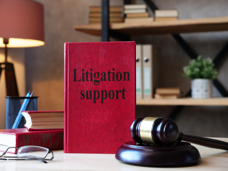 Litigation support is shown on a photo using the text on a red book