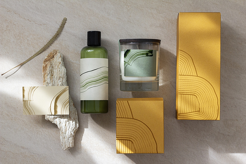 Abstract packaging branding for aromatic brands with design space