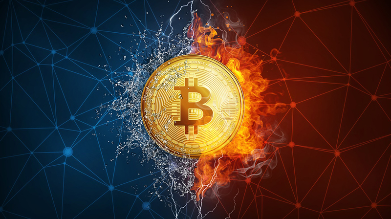 bitcoin concept in blue and red background