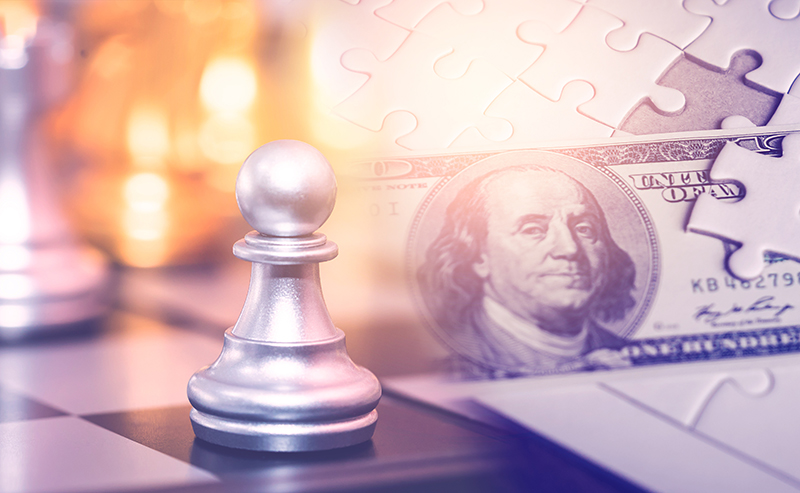 Chess strategy move for financial solution and profit planning concept