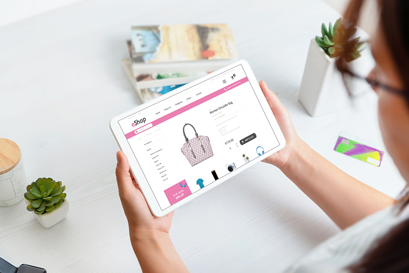 Woman checking products online