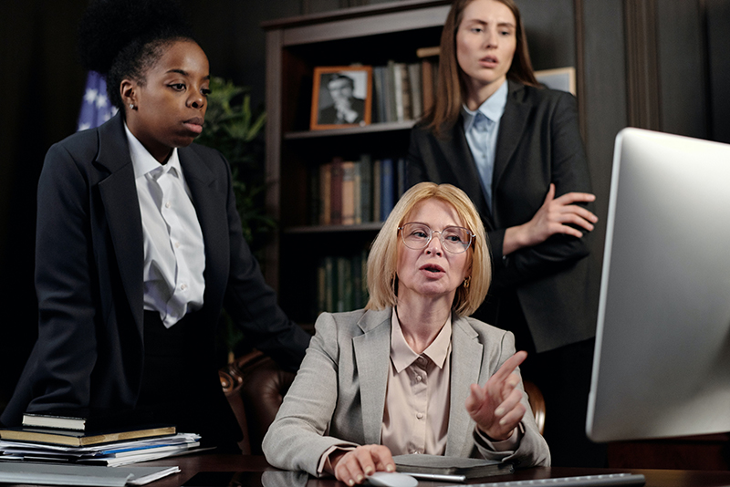 female lawyers in an office looking at the computer
