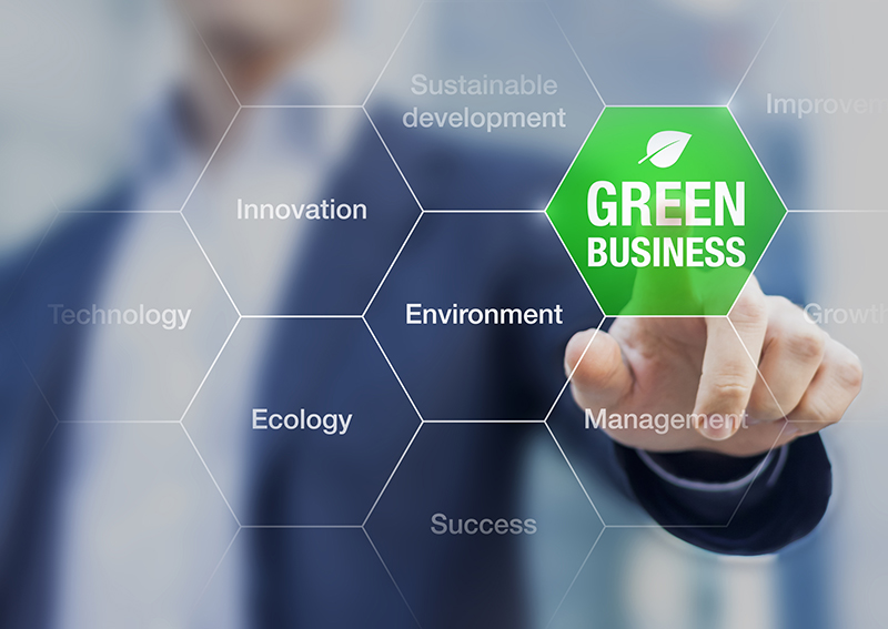Businessman and green business concept