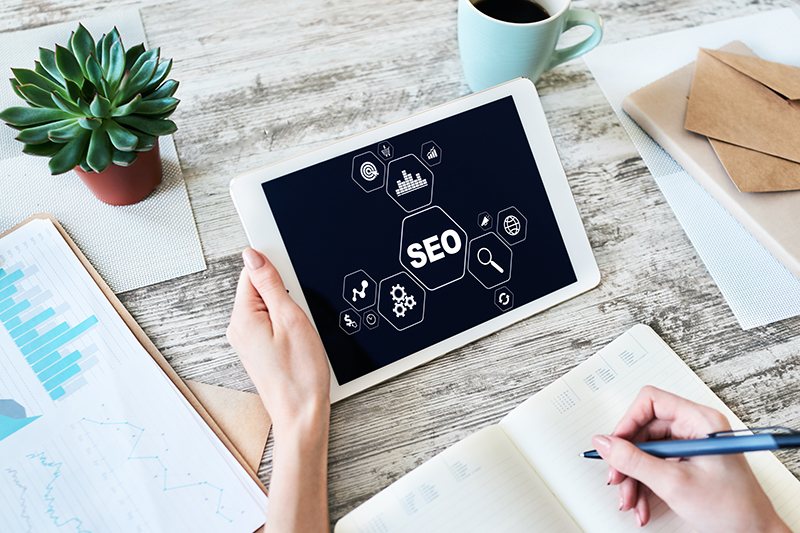 Person using Ipad with seo illustration on the screen