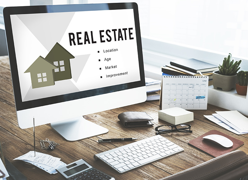 Real Estate Concept on computer screen