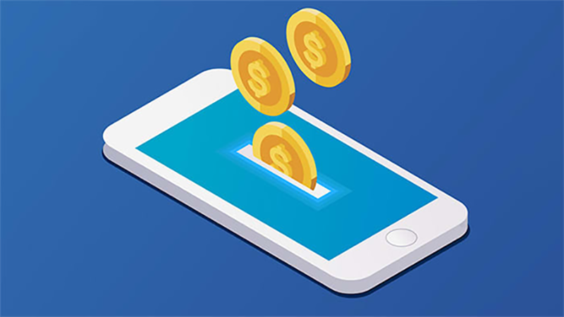 Mobile phone and coins illustration