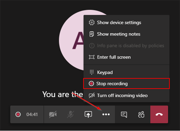 Stop recording button on microsoft team meeting