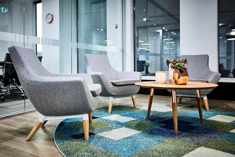 Interior photography of a corporate fit out reception waiting area