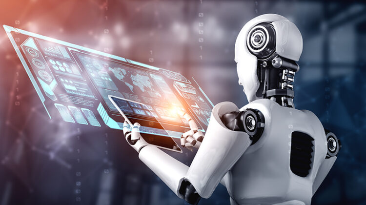 Robot humanoid using tablet computer for big data analytic using AI thinking brain