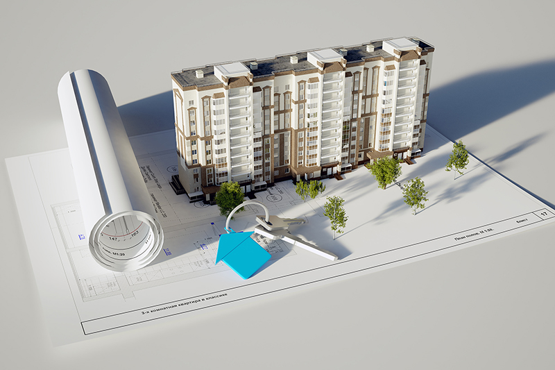 3D rendering conceptual image built the house and keys on white background