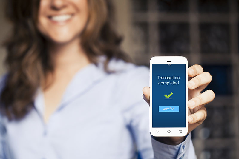 Transaction completed notification in a mobile phone screen