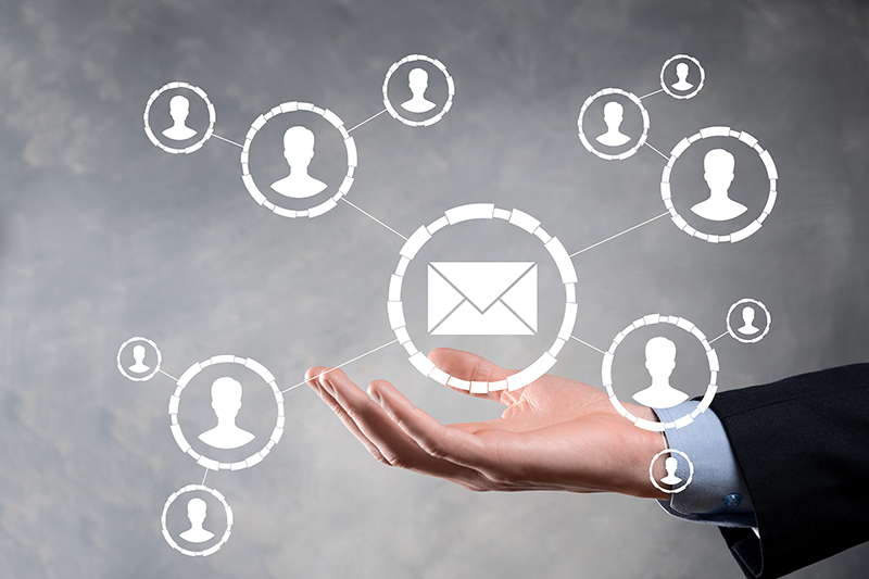 Email and sms marketing concept