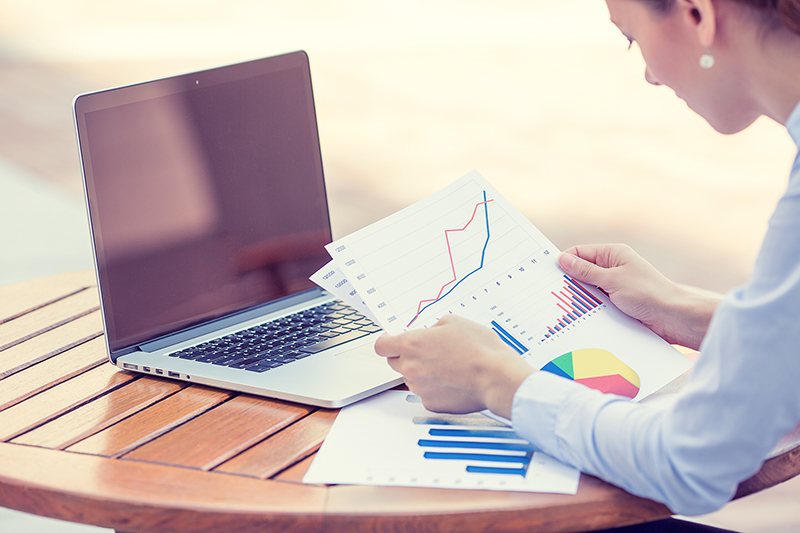 woman consultant analyzing company annual financial report