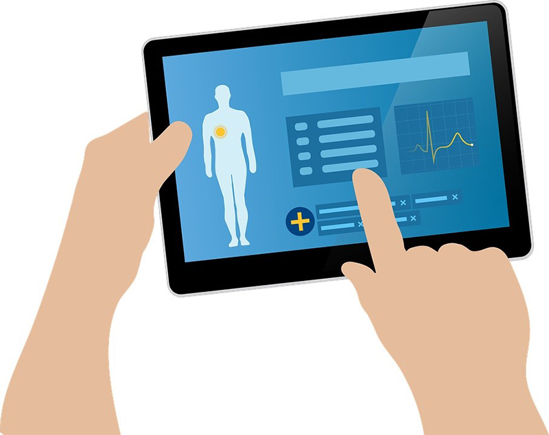a concept illustration of health information in the tablet