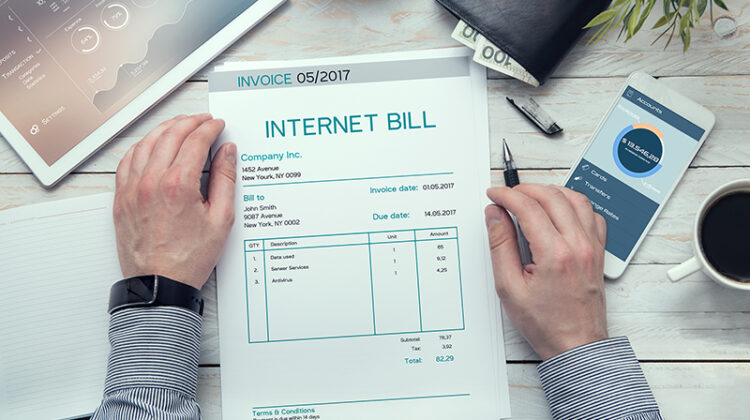 Internet bill invoice on the white table