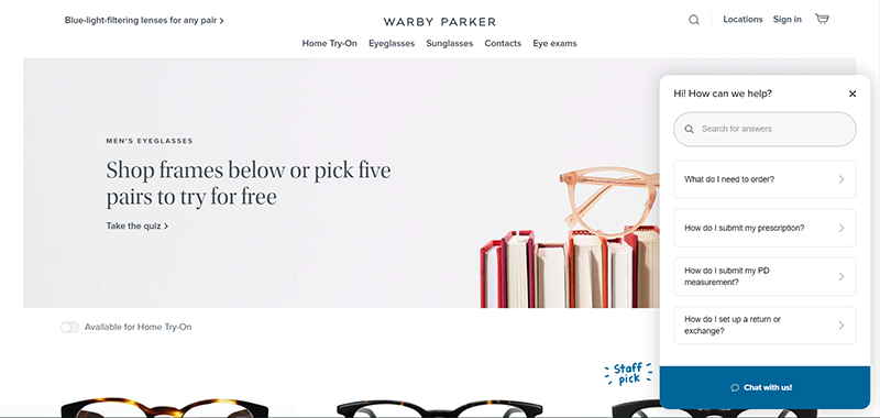 the Warby Parker website